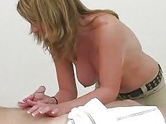 Hot Blonde Teen Gives Amazing Massage Handjob Cumshot