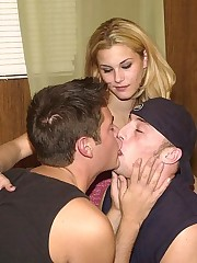 Tasty lady joins hot bisex boys fucking