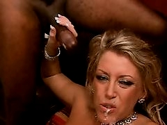 Blonde in nylons banged by a black cock