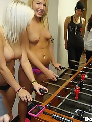 Hot horny college babes play foozball in their undies then get fucked hard in these hot wild real dorm room party footage