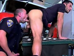 Cops buff pecs jizzed