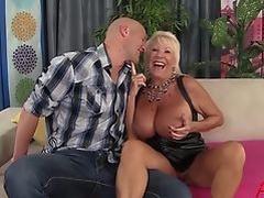 busty blonde GILF Mandi McGraw enjoys some cock