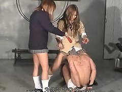 Japanese femdom gals enjoy slave in hot wax.