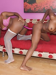 Yummy black girls getting it on with each other and toys
