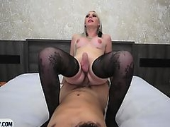 Big round ass blonde latin tranny blowjob and anal fuck