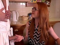 British redhead gives a blowjob