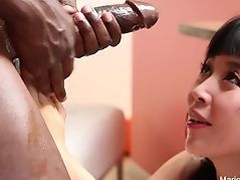 Asian hottie Marica Hase sucks and fucks a big black cock