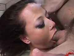 Hot pornstar throat gag and cumshot