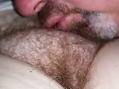 kissing her sexy hairy bush