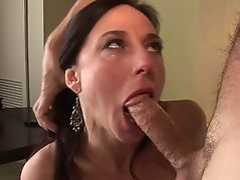 Brunette in stockings rubs her cunt while getting anal