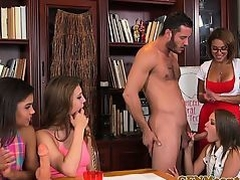 Femdom cfnm teacher gets group facial