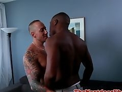 Muscular black stud enjoys interracial affair