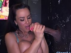 Bigtitted gloryhole milf cocksucks wall cock