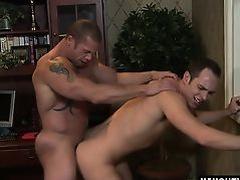 Tattoo bodybuilder spanking and cumshot