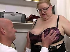 Hot office sex with huge boobs fatty