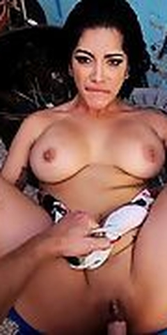 Busty babe fucked for money outdoor