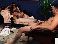 British lingerie voyeur watchers her sub jerk