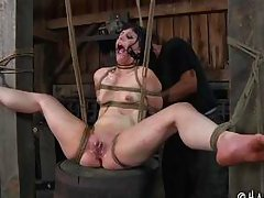 her beautiful thighs tied and spread wide