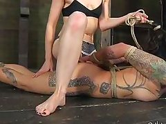 tied on the floor she longs for pussy