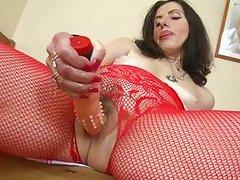 horny matyre lady playing dildo
