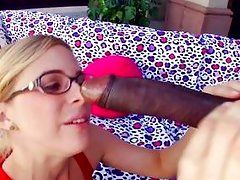 milky white blonde filled with black cock