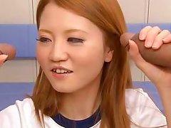 japanese gymnast sucks two cocks