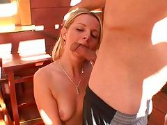 blonde gags with hairy cock