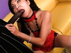 oriental milf blows brown stud