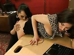 aleksa sucks her boss's shemale cock