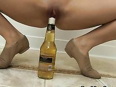 flexible blonde needs a beer